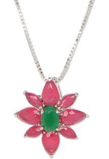 Colar Flor Com Zircônias Rosa E Verde E Banho Em Ródio