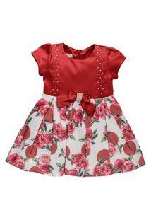 Vestido Infantil Acetinado Barrado Floral Vermelho Com Bordado Em Pérolas - Anjos Baby Chic Vermelho