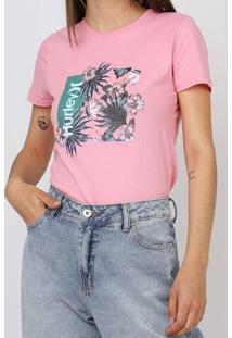 Camiseta Hurley Oao Floral Rosa