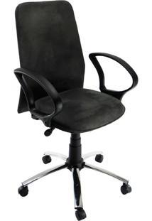 Cadeira De Escritório Diretor Cora Suede Cromada E Cinza