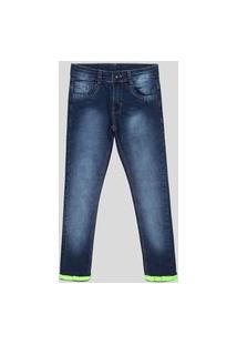 Calça Jeans Slim Juvenil Menino Lavagem Clara Estonada Jeans