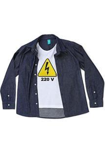 Camisa Jokenpô Infantil Jeans 220 Volts Masculina - Masculino-Azul
