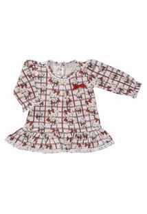 Vestido Para Bebê Manga Longa Cotton Xadrez Com Ursos- Anjos Baby Vermelho