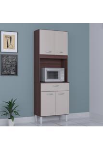 Cozinha Compacta 4 Portas 1 Gaveta Kit Cássia 6175 Capuccino/Off White - Poquema