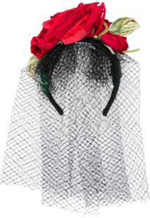 Dolce & Gabbana Headband Com Aplicação Floral E Tule - Preto