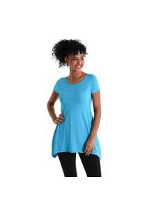 Camiseta Feminina Evasê Levíssima - Azul Turquesa - Líquido