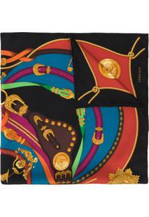 Versace Echarpe Barocco Rodeo Com Estampa - Preto