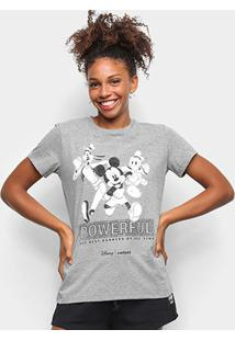 Camiseta Colcci Mickey And Friends Feminina - Feminino-Cinza