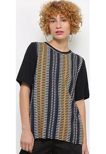 Camiseta Colcci Estampada Feminina - Feminino-Preto+Amarelo