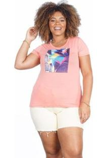 Camiseta Besni Plus Size Bolsa Strass Feminina - Feminino-Rosa