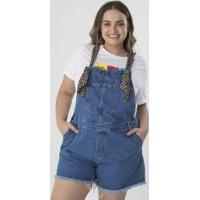 ffb8cfce7 Lojas Renner. Macacão Jeans Curto Animal Print Curve   Plus Size