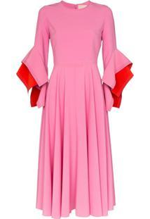 Roksanda Vestido Midi Origami - Rosa