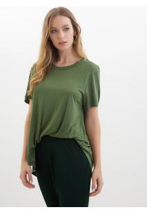 Camiseta Rosa Chá Tite Malha Verde Militar Feminina (Verde Militar, Gg)