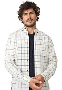 Camisa Banana Republic Slim Luxe Flannel Off-White/Azul-Marinho