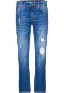 Calça Jeans Five Pockets Skinny Puídos - Azul Médio - 2