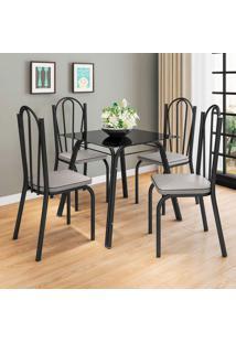 Conjunto De Mesa Com 4 Cadeiras Lotus Preto Fosco Com Platina