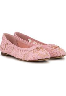 Dolce & Gabbana Kids Sapatilha Com Rende E Detalhe De Cristais - Rosa