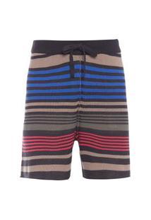 Bermuda Masculina Tricot Double Mixed Stripes - Preto