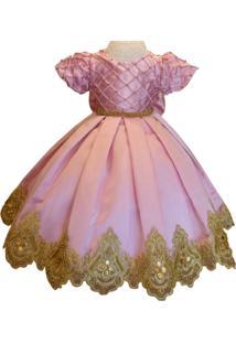 Vestido Liminha Doce De Luxo Rosa Com Dourado Infantil