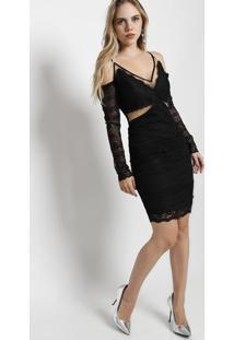 Vestido Em Renda Com Recorte Em Tule- Pretomax Glamm