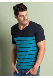 Camiseta Estampa Listrada Preta E Azul