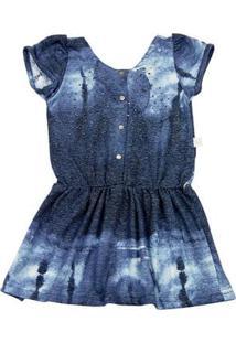 Vestido Infantil Malha Reciclato Estampada - Marinho 3