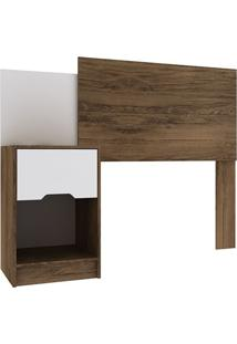 Cabeceira Solteiro Com Mesa De Cabeceira – Rodial - Cacau / Branco Textura