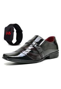 Sapato Social Com Verniz Com Relógio Led Dubuy 632Mr Vermelho