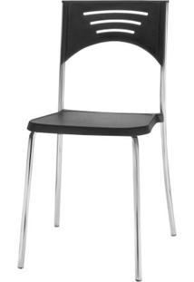 Cadeira Bliss Assento Preto Base Cromada - 53719 - Sun House