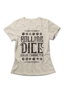 Camiseta Feminina Rolling Dice Bege