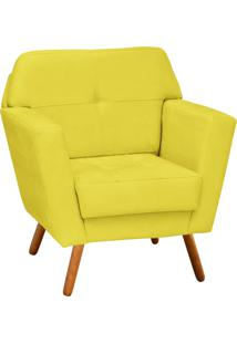 Poltrona Decorativa Esmeralda Suede Amarelo Pés Palito - D'Rossi