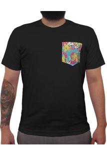 Cobras, Caveiras E Flores - Camiseta Clássica Com Bolso Masculina