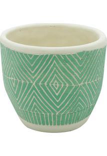 Vaso Modern Design- Off White & Verde- 12,5Xã˜14,5Cm