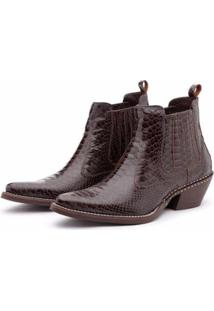 Bota Country Bergally Texana Escamada Bico Fino Masculina - Masculino-Marrom