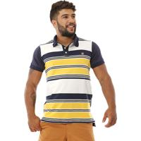 fddb7f729f Camisa Polo Bamborra Denim Listrada Amarelo Com Branco E Azul