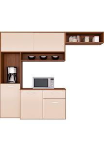 Cozinha Compacta Suspensa C/ Balcão Thais-Poquema - Capuccino / Off White
