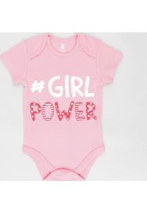 "Body Infantil ""#Girl Power"" Manga Curta Decote Redondo Rosa"