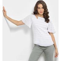 3aa7e80ac3 Blusa Maria Filó Listrada Ombros Vazados Decote Costas Feminina - Feminino -Branco