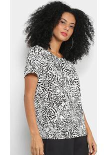 Camiseta Colcci Estampada Feminina - Feminino-Preto+Branco