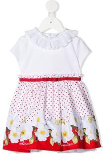 Monnalisa Vestido Com Estampa Floral - Branco