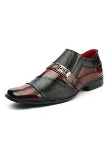 Sapato Social Verniz Preto E Vinho Fork Sintético Promoçáo