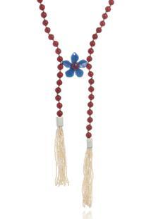 Colar Le Diamond Resinas Vermelhas E Flor Azul