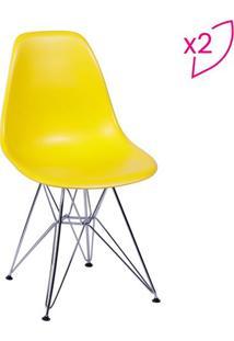 Jogo De Cadeiras Eames Dkr- Amarelo & Prateado- 2Pã§Sor Design
