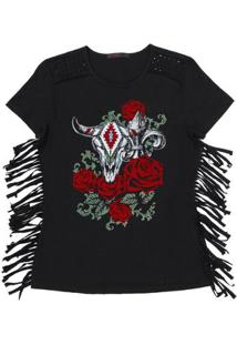 Camiseta Tassa Gold Estampada 22668 Feminina - Feminino-Preto