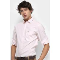 1bf4458034 Camisa Manga Longa Tommy Jeans Solid Poplin Shirt Masculina - Masculino-Rosa