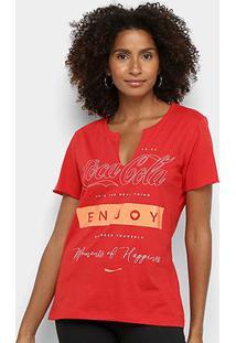 Camiseta Coca Cola Enjoy Feminina - Feminino-Vermelho