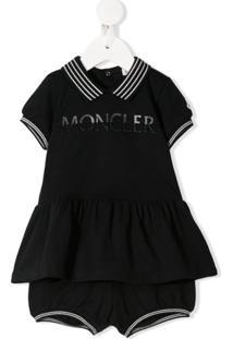 Moncler Kids Conjunto De Vestido E Calcinha Com Logo - Preto