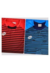 Kit De 2 Camisas Lotto Colors Azul E Vermelha