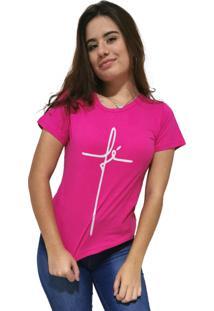 Camiseta Feminina Cellos Fé Premium Rosa - Kanui