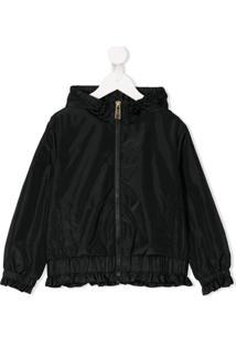 Moschino Kids Logo Print Hooded Jacket - Preto